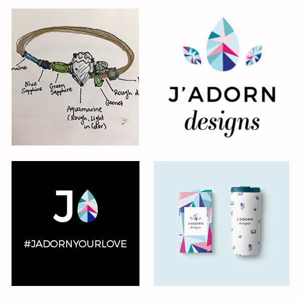 spotlight on J'Adorn Designs' colorful new brand - new brand identity // illiah manger of c&v creative