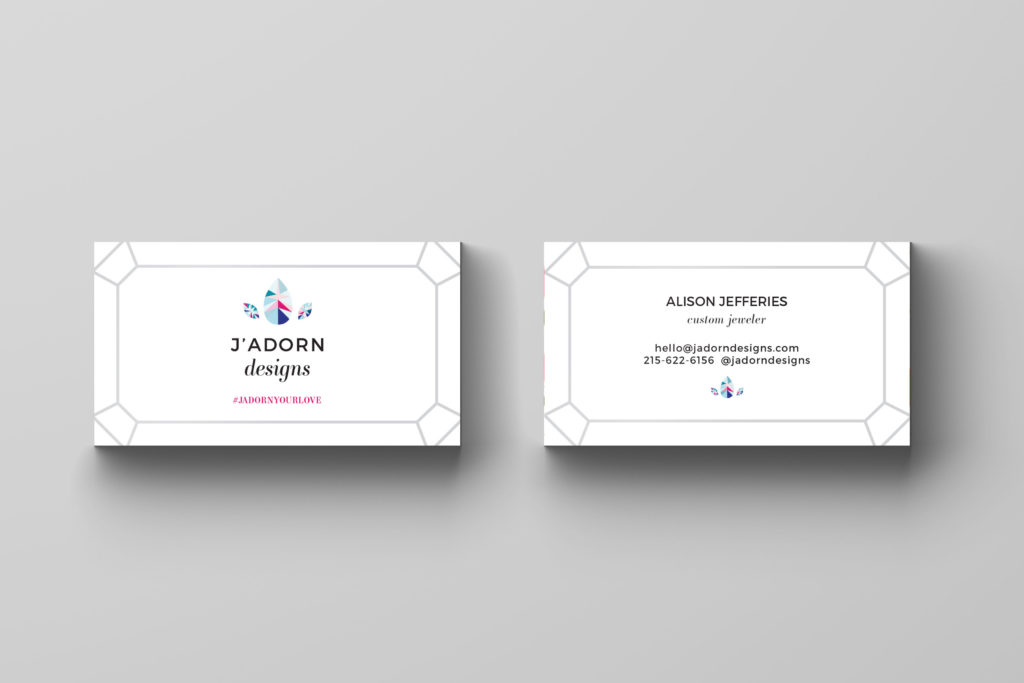 spotlight on J'Adorn Designs' colorful new brand - business cards // illiah manger of c&v creative