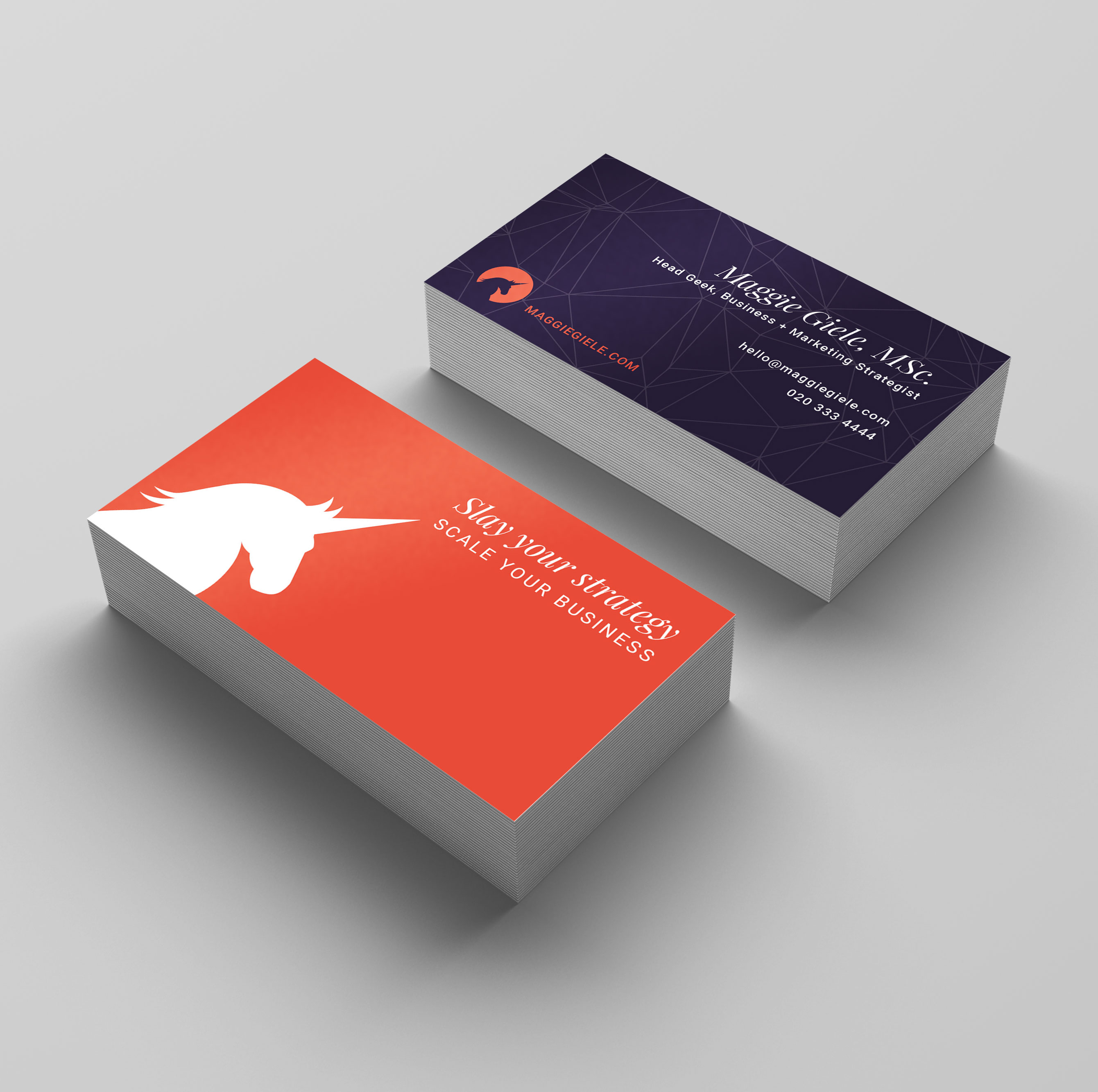 Business cards designed for Maggie Giele, Business & Marketing Strategist, by C&V