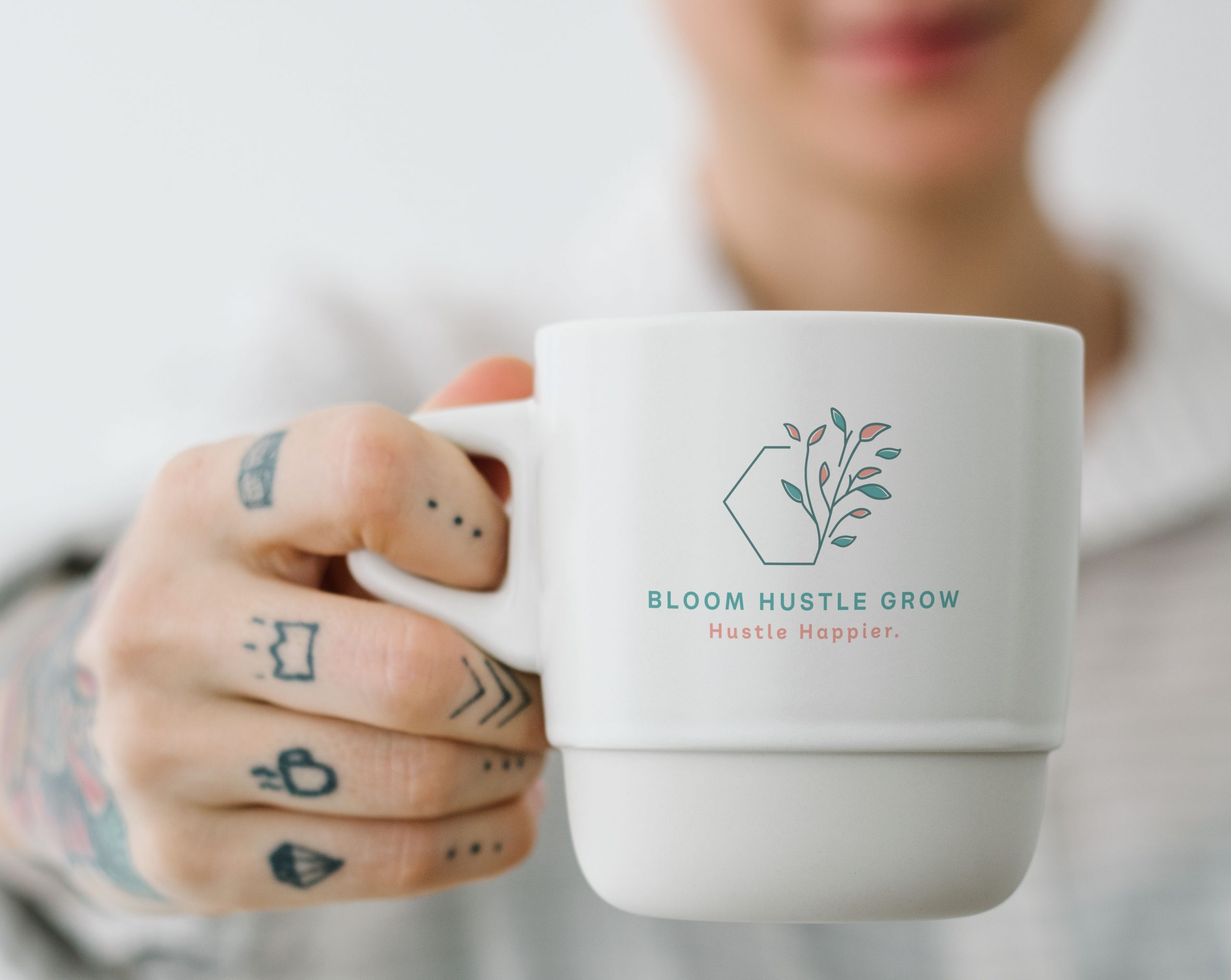 Bloom Hustle Grow logo mug / swag designed by C&V