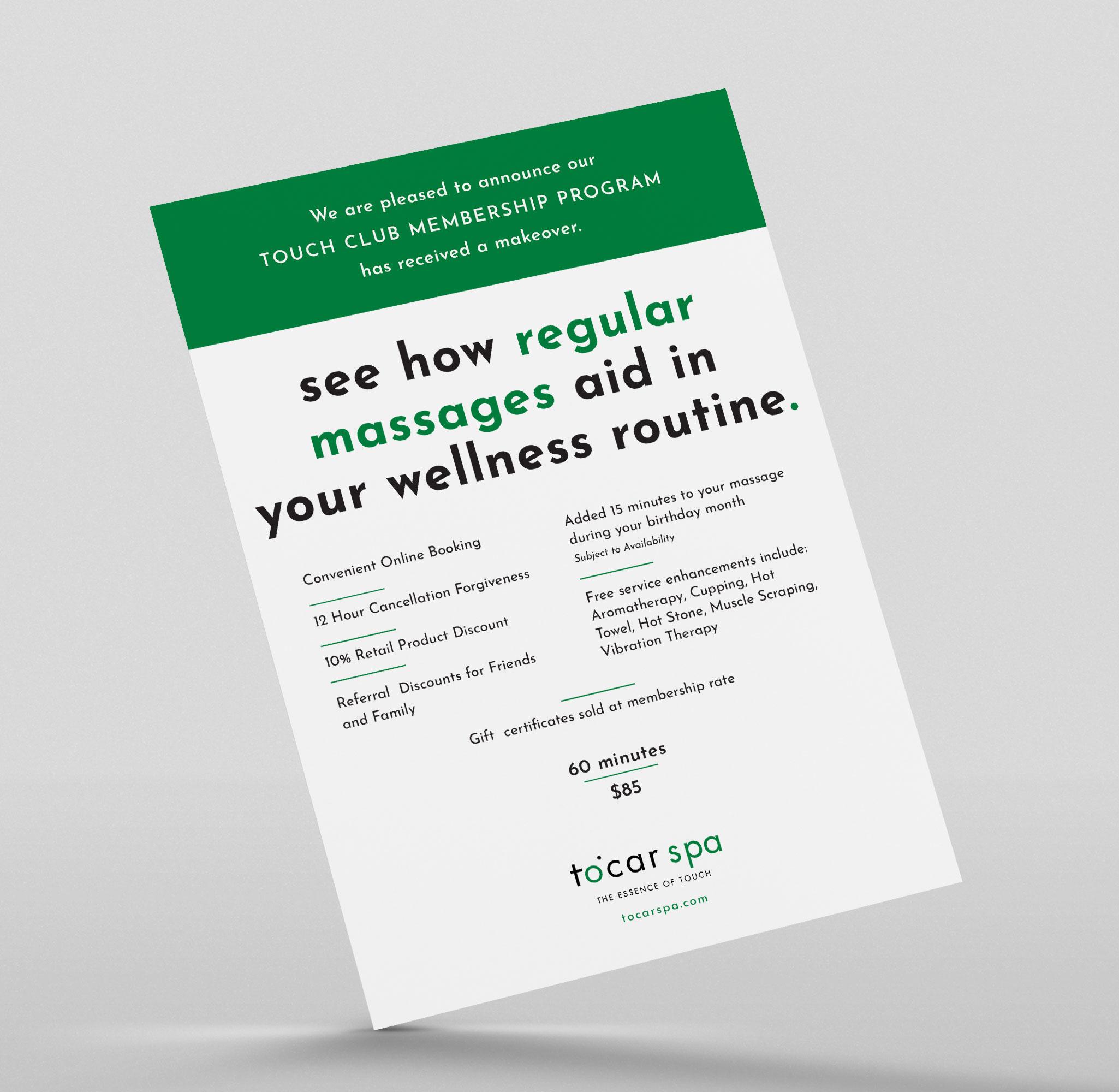 Membership Program flyer designed for Tocar Spa by C&V